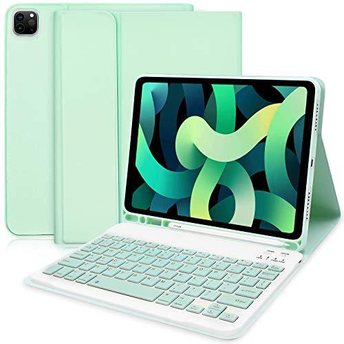 Tastatur Hülle für iPad Air 4. Generation (2020, 10,9), Schlankes Smart Cover mit Abnehmbarer Bluetooth Tastatur für iPad Air 4 10.9