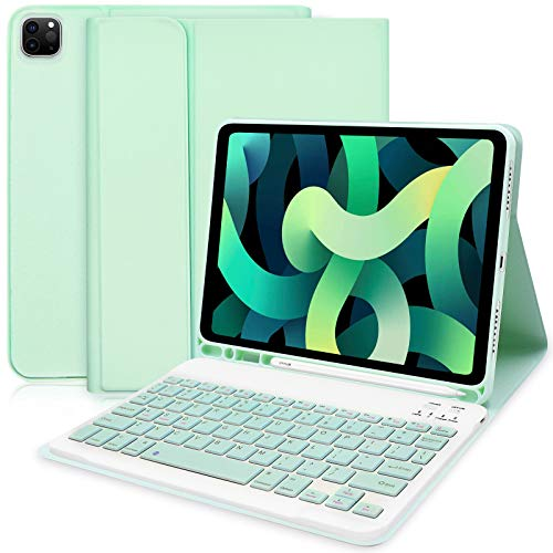 Custodia Tastiera per iPad Air 4 (2020, 10,9) - Custodia con Tastiera per iPad 10,9 2020/iPad Pro 11 2020/2018, Smart Cover Sottile con Tastiera Bluetooth Rimovibile(Verde)