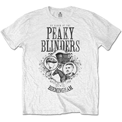 Peaky Blinders Men's tee: Horse & Cart Camiseta, Blanco (White White), X-Large para Hombre