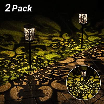 OxyLED Solar Path Lights Outdoor, 2 Pack LED Garden Pathway Lights Solar Powered, Decorative Landscape Lighting Security Light Auto On/Off Dusk to Dawn for Lawn, Patio, Yard, Walkway