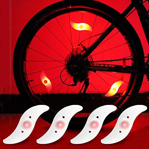 yifengshun Luci per Ruote a LED per Bici con 3 modalità Fash Ciclismo Cerchio Pneumatico Luce Rosso Avviso Luci al Neon Accessori per Biciclette Lampada Flash Impermeabile 4psc