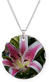 Stargazer Lily Charm Necklace with Round Pendant