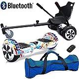 Patineta Eléctrica Auto Balanceada con Bluetooth de 6.5' Nero Sport con Combo de Accesorios Hoverkart para Go-Kart – Incluye Bolso de Transporte y Llave remota (Garabato Multicolor)