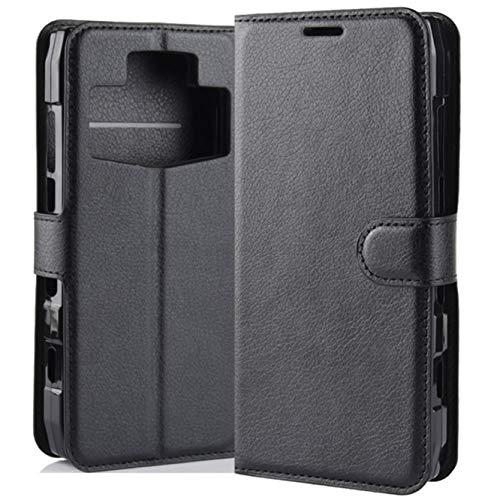 HualuBro Ulefone Power 5 / 5s Hülle, Premium PU Leder Leather Wallet HandyHülle Tasche Schutzhülle Flip Hülle Cover für Ulefone Power 5 / 5s Smartphone (Schwarz)