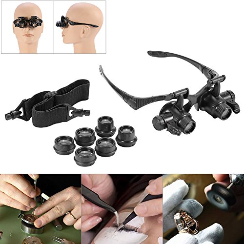 New Head Wearing vergrootglas Double Eye sieraden horloge reparatie vergrootglas bril