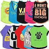 10 Pieces Pet Dog Shirts Printed Puppy Sweatshirt Cartoon Pet Summer Breathable T-Shirt Cute Dog Clothing Cotton Dog Apparel for Pet Dog Puppy (Camera, Spear, Bones, Hamburger, Heart, Footprints, S)