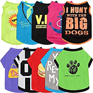 10 Pieces Pet Dog Shirts Printed Puppy Sweatshirt Cartoon Pet Summer Breathable T-Shirt Cute Dog Clothing Cotton Dog Apparel for Pet Dog Puppy (Camera, Spear, Bones, Hamburger, Heart, Footprints, L)