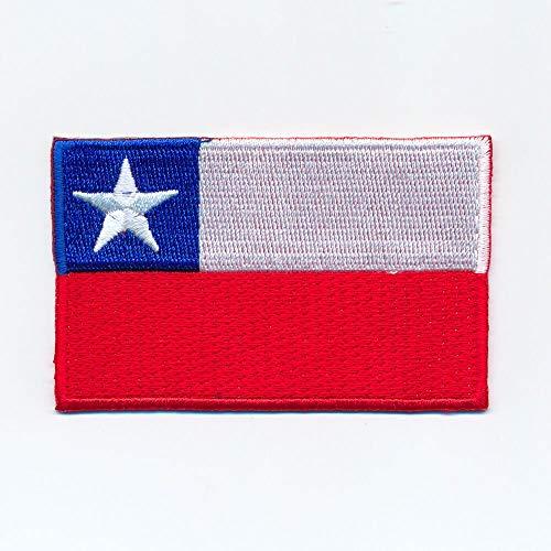 hegibaer 40 x 25 mm Chile Santiago de Chile vlag Zuid-Amerika opnaaimachine 1125 A