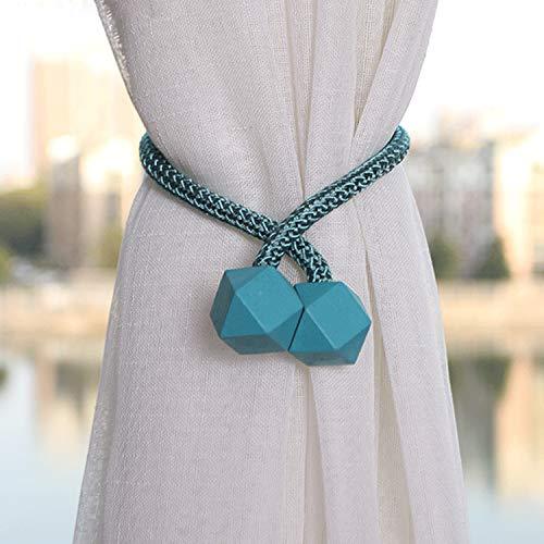 Amuzocity Vorhang Raffhalter magnetisch 2 Stück Vorhanghalter Elegante Würfel Holdbacks Gardinenklammern Gardinenhalter - Blau