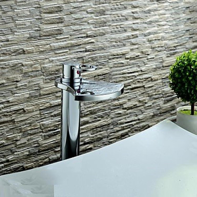 ZLL ?ìContemporary Waterfall Single Handle Chrome Finish Bathroom Sink Faucet - Basin Mixer Tap(High)