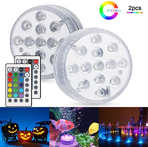 Unterwasser Licht, 2 Stück RGB Multi Farbwechsel wasserdichte LED Leuchten für Vase Base Party, Hochzeit, Weihnachten, Schwimmbad, Halloween, Dekoration unterwasserlicht mit fernbedienung