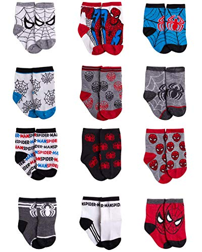 Marvel Spider-Man Baby Boys Character Socks 12 Pack (Newborn and Infants)