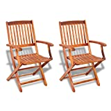 vidaXL 2 pcs Outdoor Garden Folding Dining Chairs Seat Acacia Wood Patio Terrace Yard