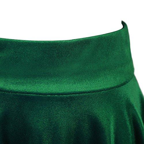 urban GoCo Mini Falda Elástica Patinadora de Terciopelo de Retro (S, Verde Oscuro)