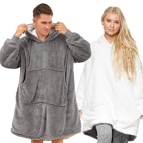 Lushforest Hoodie Sweatshirt, Damen Kapuzenpullover, Riesen-Sweatshirt, Super weich und bequem, Geeignet für Erwachsene, Männer, Frauen, Jugendliche (Hellgrau)