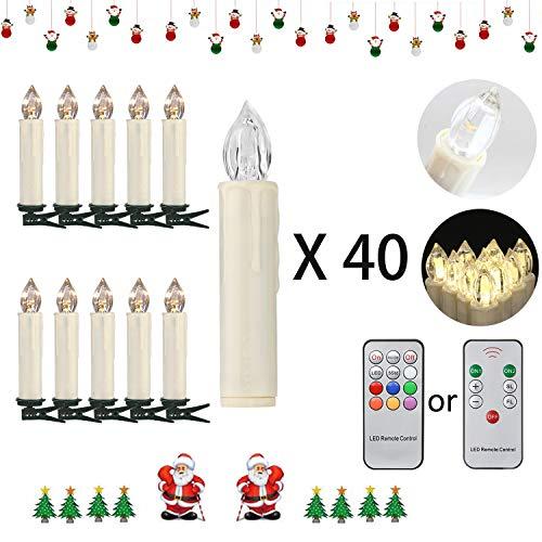 Soontrans Kabellose Weihnachtsbaumkerzen Warmweiß Christbaumkerzen Flackern Weihnachtskerzen mit Fernbedienung (40er)