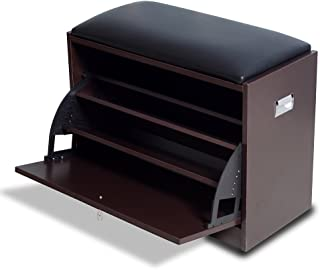 GLS Brown Modern Shoe Cabinet Bench Storage Ottoman with Pu Leather Seat for Entryway Living Room Furniture