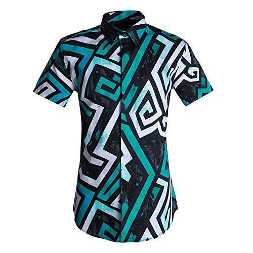 Photo of LIUXING-TUMI Mens Summer Short Sleeve Allover Print Shirt Button Down Dress Shirt Regular Fit Cotton Shirts Top Work Business Casual Shirt Blouse Size M L XL XXL 3XL (Color : Green, Size : L)