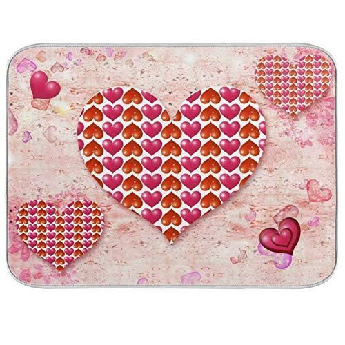 HMZXZ Alfombrilla de secado de platos de microfibra para mostrador de cocina, 45,7 x 60,9 cm, corazones rosados, día de San Valentín, absorbentes, escurridor, escurridor, alfombrilla protectora