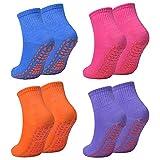 Catime 4 Paires Chaussettes Yoga, Chaussettes Antidérapantes pour Femme & Homme, Coton Chaussettes Pilates 35-42 EU pour Sport Fitness Trampoline (Bleu+Orange+Violet+Rose)