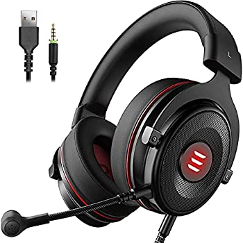 EKSA E900 USB Gaming Headset for PC - PS4 Headset with Detachable Noise Cancelling Microphone - 7.1 Surround Sound - Gaming Wired Headphones Compatible with PS4 PS5 PC Xbox One Computer Laptop