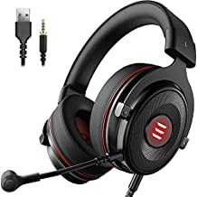 EKSA E900 PS4 Gaming Headset - PC USB Headset with Detachable Microphone 7.1 Surround Sound &LED Light, Gaming Headphones Compatible with PC, PS4, PS5, Xbox One, Computer, Laptop, Controller