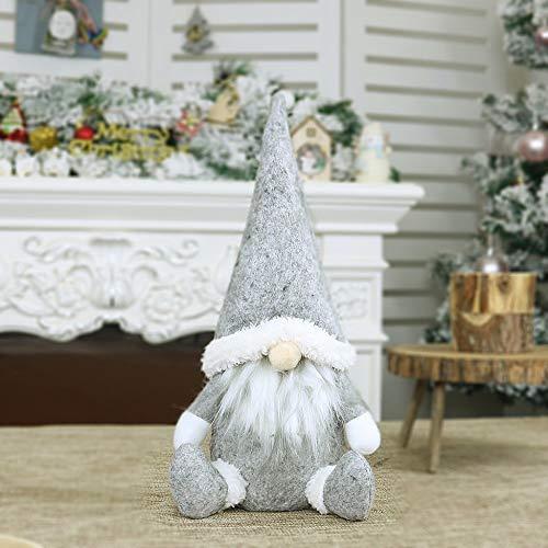 Weihnachten Puppe Mini Handgemachte Schwedische Wichtel Santa Dolls süße Weihnachtswichtel Kinder Geschenke Figur Plüschtier Stehende Weihnachtsfigur Urlaub Weihnachtsdekoration (Grau, 31 x 16cm)