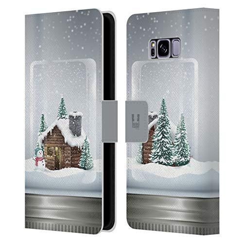 Head Case Designs Cabaña Navidad en Tarros Carcasa de Cuero Tipo Libro Compatible con Samsung Galaxy S8+ / S8 Plus