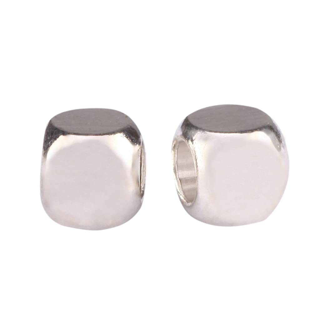 200pcs Top Quality Smooth Cube Spacer 4mm Small Beads (Large Hole ~ 2.5mm) Sterling Silver Plated Brass for Jewelry Craft Making CF122-4