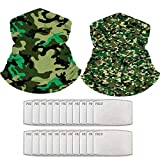 Neck Gaiter Set of 2 Multi-Purpose Bandana Balaclava Face Mask Headwear with 20PCS PM 2.5 Activated Carbon Filter (Camouflage-d)