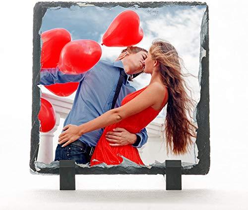 Lombardi Fotografo Piedra de pizarra 15 x 15 cm personalizada con foto, texto y logotipo
