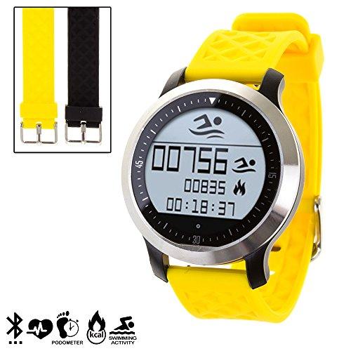 DAM DMR228 - Smartwatch Sportswim F69 con 2 Correas Intercambiables, Color Amarillo