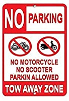 金属ヴィンテージティンサインイン、駐車禁止、オートバイスクーター牽引ゾーン、錆びにくい、フェード、素材、ファッションスタイル