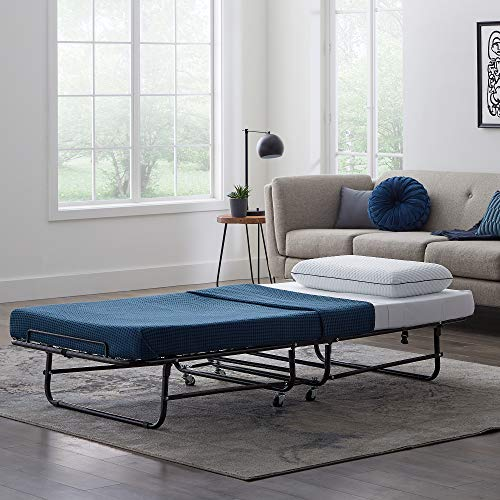 LUCID Rollaway Folding Guest Bed with 4 Inch Memory Foam Mattress - Rolling Cot - Easy Storage - Twin