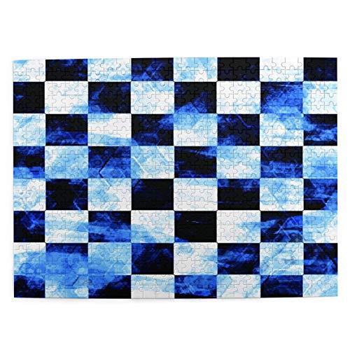 Talla Mediana Rompecabezas 500 Piezas,Tablero Ajedrez Azul Grunge Abstracción Blanca Abstracción Abstracta Tablero Ajedrez Negro,Gracioso Juego Familiar Decoración Colgante del Hogar,20.4' x 15'