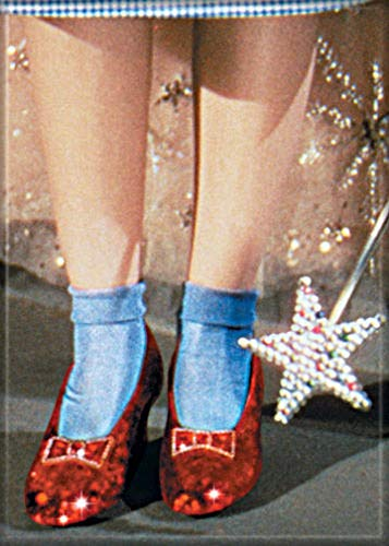 Ata-Boy Wizard of Oz Ruby Slippers and Wand 2.5' x 3.5' Magnet for Refrigerators and Lockers