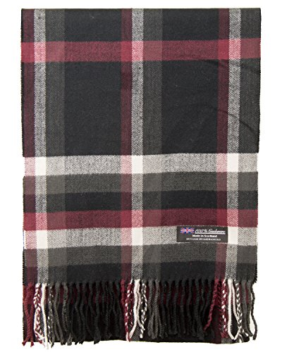 100% Cashmere Scarf Made in Scotland Wool Buffalo Tartan Windowpane Check Plaid