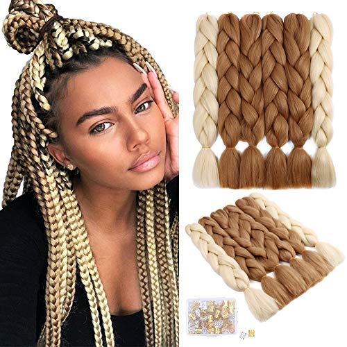 6Pack Crochet Tresses Cheveux Kanekalon Synthétique Tressage Cheveux Ombre Boîte Tresses Extensions de Cheveux (24 pouces, 27#+613#)