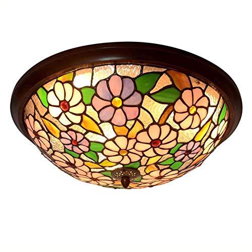 JYTBD Lámpara de techo estilo Tiffany para dormitorio, estilo retro pastoral floral de cristal manchado lámpara de techo para sala de estar, pasillo, pasillo y luces de techo, LED