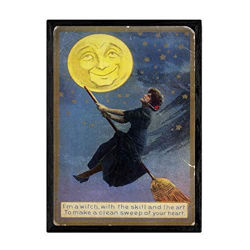 Nacnic Poster Vintage de Bruja Volando. Láminas para Decorar Interiores con imágenes Vintage y de Publicidad Antigua. Cuadros decoración Retro. Tamaño A3