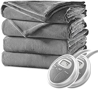 Sunbeam Queen Electric Heated Blanket Luxurious Velvet Plush with 2 Digital Controllers and Auto-Off Feature - 5yr Warranty, Light Steel Grey