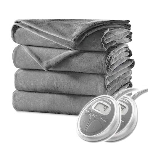 Sunbeam Queen Electric Heated Blanket Luxurious Velvet Plush with 2 Digital Controllers...