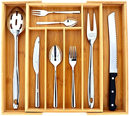 SCHOBERG Universal Besteckkasten aus Holz 25,5 bis 40,5cm x 35,5cm x 4,5cm Besteck Schubladen Einsatz Küchenschubladen