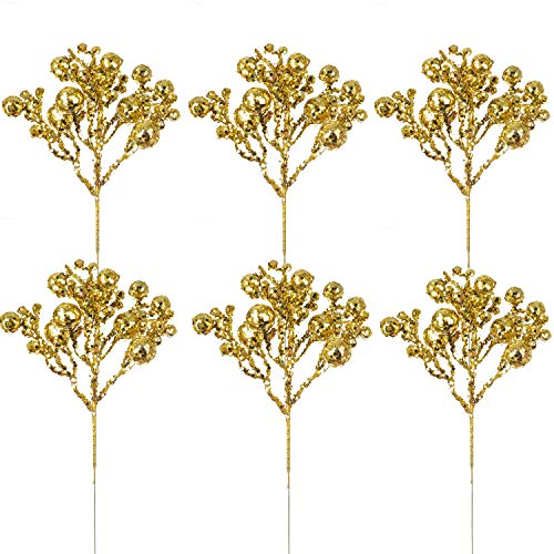 Artiflr 6 Pack Christmas Glitter Berries Stems, 12 Inch Artificial Christmas Picks for Christmas Tree Ornaments, DIY Xmas Wreath, Crafts, Holiday and Home Decor (Gold)