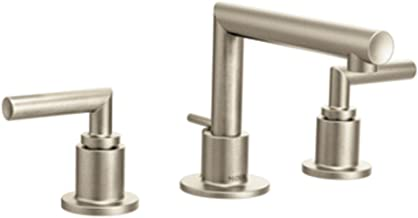 Moen TS43002BN Arris Two-Handle Modern 8 in. Widespread Bathroom Faucet Trim Kit, Valve Required, Brushed Nickel