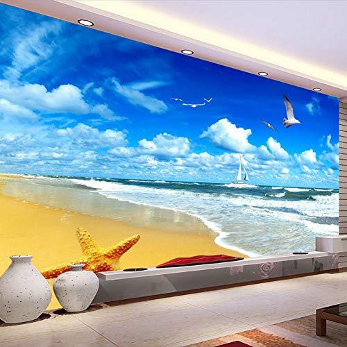 Benutzerdefinierte Wandbild Wandvlies Vlies Wohnzimmer Dekoration 3D blauen Himmel und weißen Wolken Strand 3D Foto Wallpaper