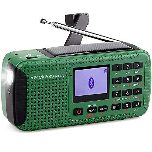 Retekess HR11S Emergency Shortwave Radio, AM FM Bluetooth Radio, Solar Crank Survival Radio with Flashlight, SOS Alert and Phone Charging(Green)