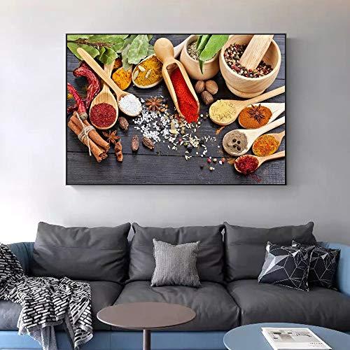 PLjVU Wandposter und Drucke mit Küchenmotiven und verschiedenen Gewürzen auf der Wand Leinwand Kunst Malerei Leinwand Kunst Bild Dekoration-Ohne Rahmen50X75cm