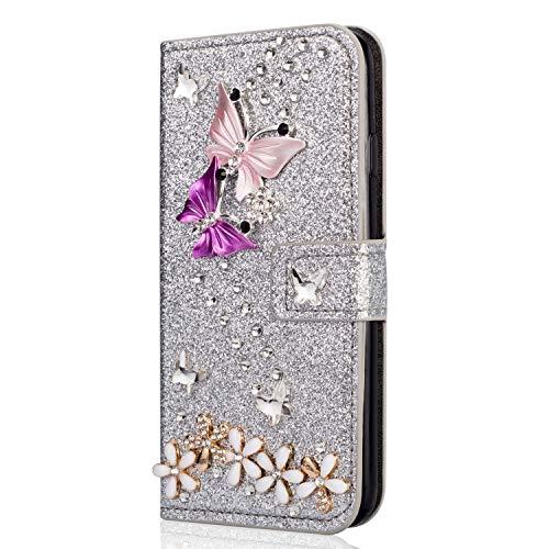 Miagon Coque Diamant pour Samsung Galaxy A32 5G,Glitter Strass Papillon Fleur PU Cuir Étui à Rabat Portefeuille Stand et Porte-Carte Housse de Protection Cover,Argent