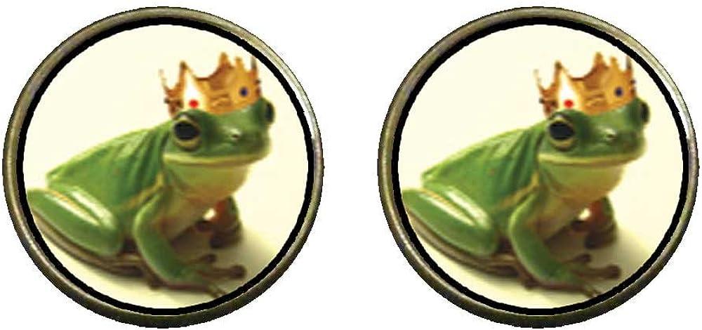 GiftJewelryShop Bronze Retro Style Frog Prince Photo Clip On Earrings 14mm Diameter